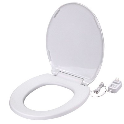UltraTouch 01811 12 Watt/12 Volt UL-Listed Soft Round Bowl White Heated Standard Toilet Seat for Standard American Bathrooms, White