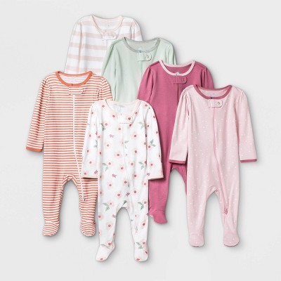 Baby Girls' 6pk Sleep N' Play - Cloud Island™ Dark Pink 6-9M