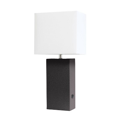 Modern Leather Table Lamp with USB and Fabric Shade Espresso Brown - Elegant Designs