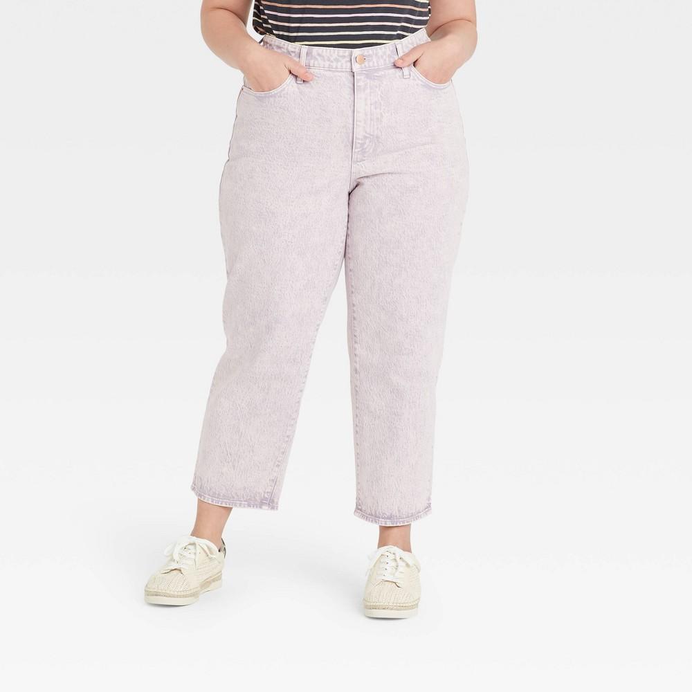 Women 39 S Plus Size Super High Rise Vintage Straight Cropped Jeans Universal Thread 8482 Light Purple 22w