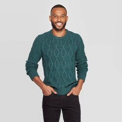 Men's Standard Fit Cable Crew Neck Sweater - Goodfellow & Co™