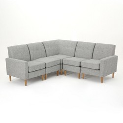 5pc Sawyer Sectional Sofa Set Light Gray Tweed - Christopher Knight Home