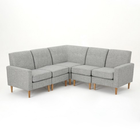 5pc Sawyer Sectional Sofa Set Light Gray Tweed Christopher Knight Home