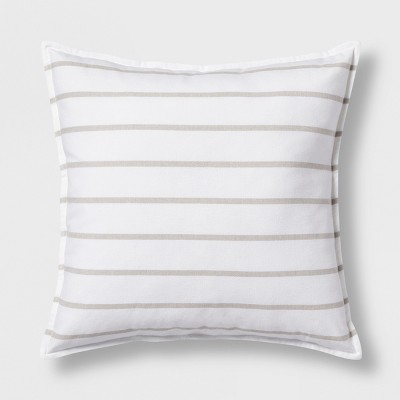Woven Stripe Oversize Square Throw Pillow Neutral - Threshold™