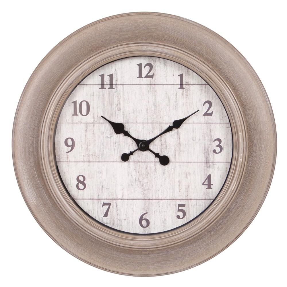 24 Whitewashed Woodgrain Wall Clock Taupe (Brown) - Patton Wall Decor