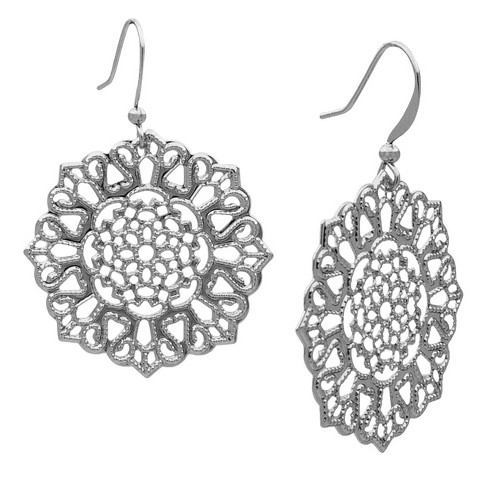Filigree Flower Drop Earring - Silver - image 1 of 1
