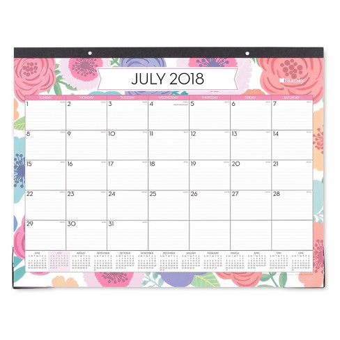 "2018-19 Academic Desk Pad Calendar 22""x 17"" Flowers - Blue Sky - image 1 of 1"