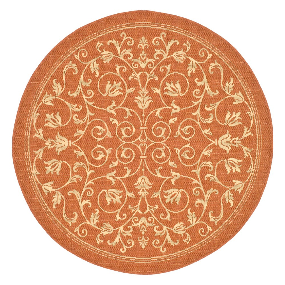 7'10 Round Vaucluse Outdoor Rug Terracotta/Natural - Safavieh