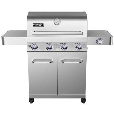 4-Burner Propane Stainless Steel Gas Grill with Rotisserie Kit Model 17842 - Monument Grills