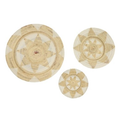 Set of 3 Large Decorative Round Wicker Basket Trays Wall Decor with Star Design Beige/White - Olivia & May