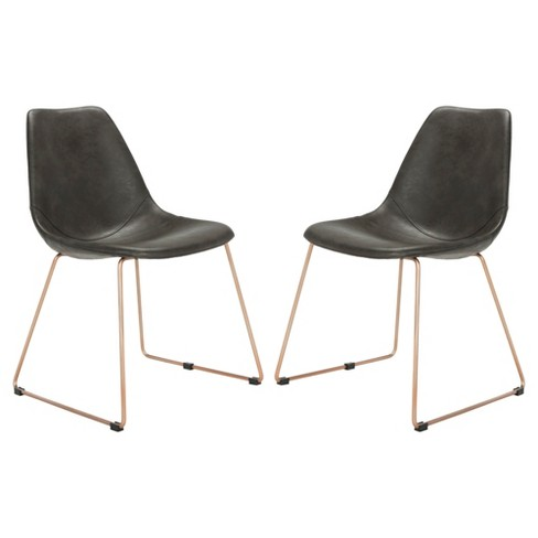 Set Of 2 Dorian Midcentury Modern Leather Dining Chair Safavieh