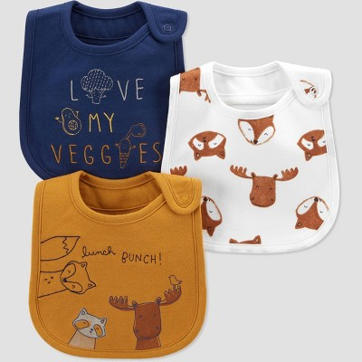 Baby Boys' 3pk Woodland Bib - Just One You® made by carter's Gold/Blue