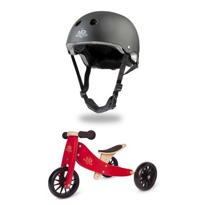 Kinderfeets Children's Riding Toy Bundle with Black Adjustable Sport Toddler/Kids Bike Helmet and Tiny Tot PLUS 2-in-1 Balance Bike and Tricycle, Red