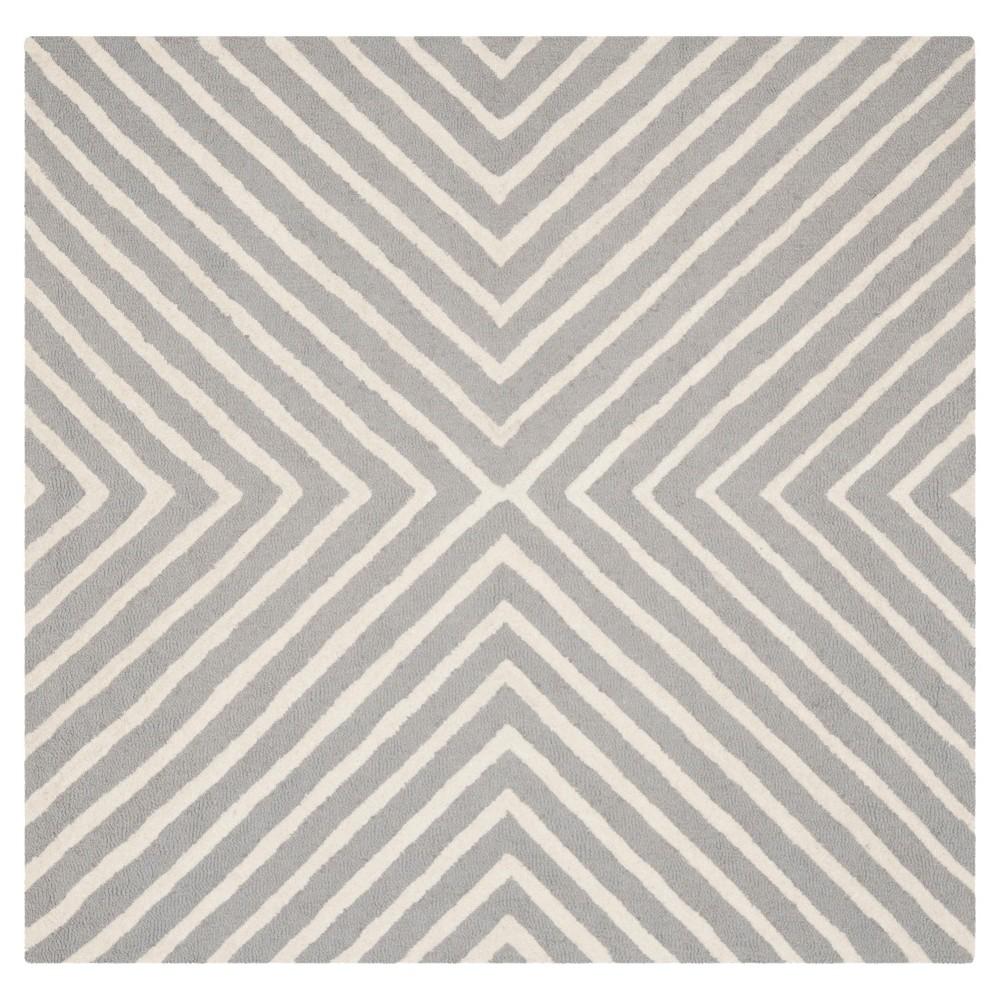 10'X10' Geometric Area Rug Silver/Ivory - Safavieh
