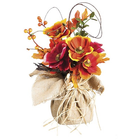 Harvest Mixed Artificial Flowers in Burlap Base - image 1 of 1