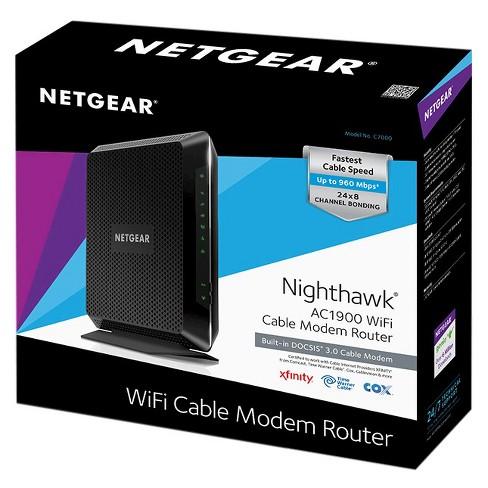 NETGEAR Nighthawk™ AC1900 WiFi DOCSIS® 3 0 Cable Modem Router (C7000)