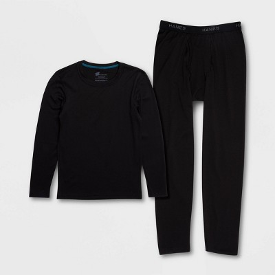 Hanes Premium Boys' 2pc Thermal Underwear Set - Black