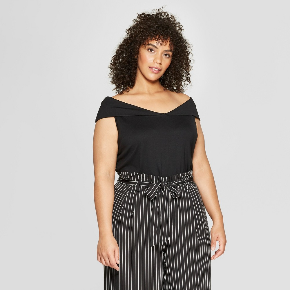 Women's Plus Size Off the Shoulder Top - Who What Wear Black 1X