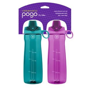 pogo 32oz Tritan Chug Water Bottle 2pk - Fuchsia/Teal