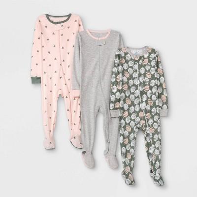 Baby Girls' 3pk Basic Tight Fit Sleep N' Play - Cloud Island™ Pink/Green