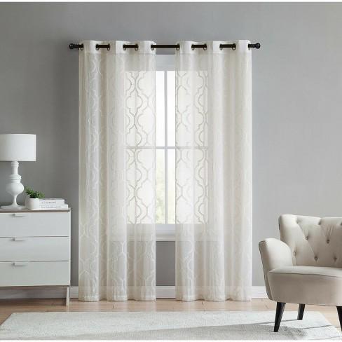 GoodGram 2 Pack Charlotte Trellis Sheer Window Curtain Panels - image 1 of 1