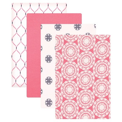 Hudson Baby Flannel Receiving Blankets - Pink Medallion - 4pk
