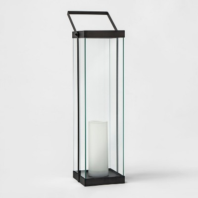 22  Metal Glass Outdoor Lantern Battery Operated - Black - Project 62™