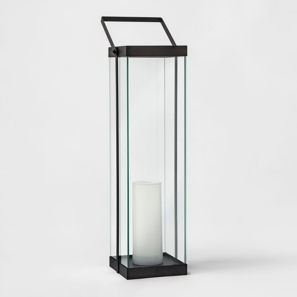 "Image of ""22"""" Metal Battery Operated Outdoor Lantern Black - Project 62"""