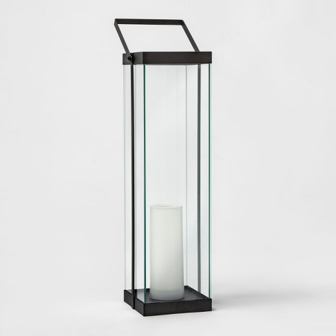 Modern Battery Operated Metal Glass Lantern - Project 62™ - image 1 of 4