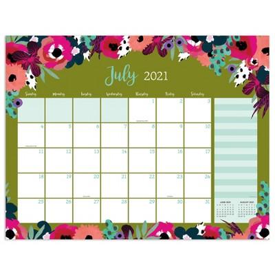 2021-22 Academic Desktop Calendar Modern Flowers Large Monthly Desk Pad Blotter - The Time Factory
