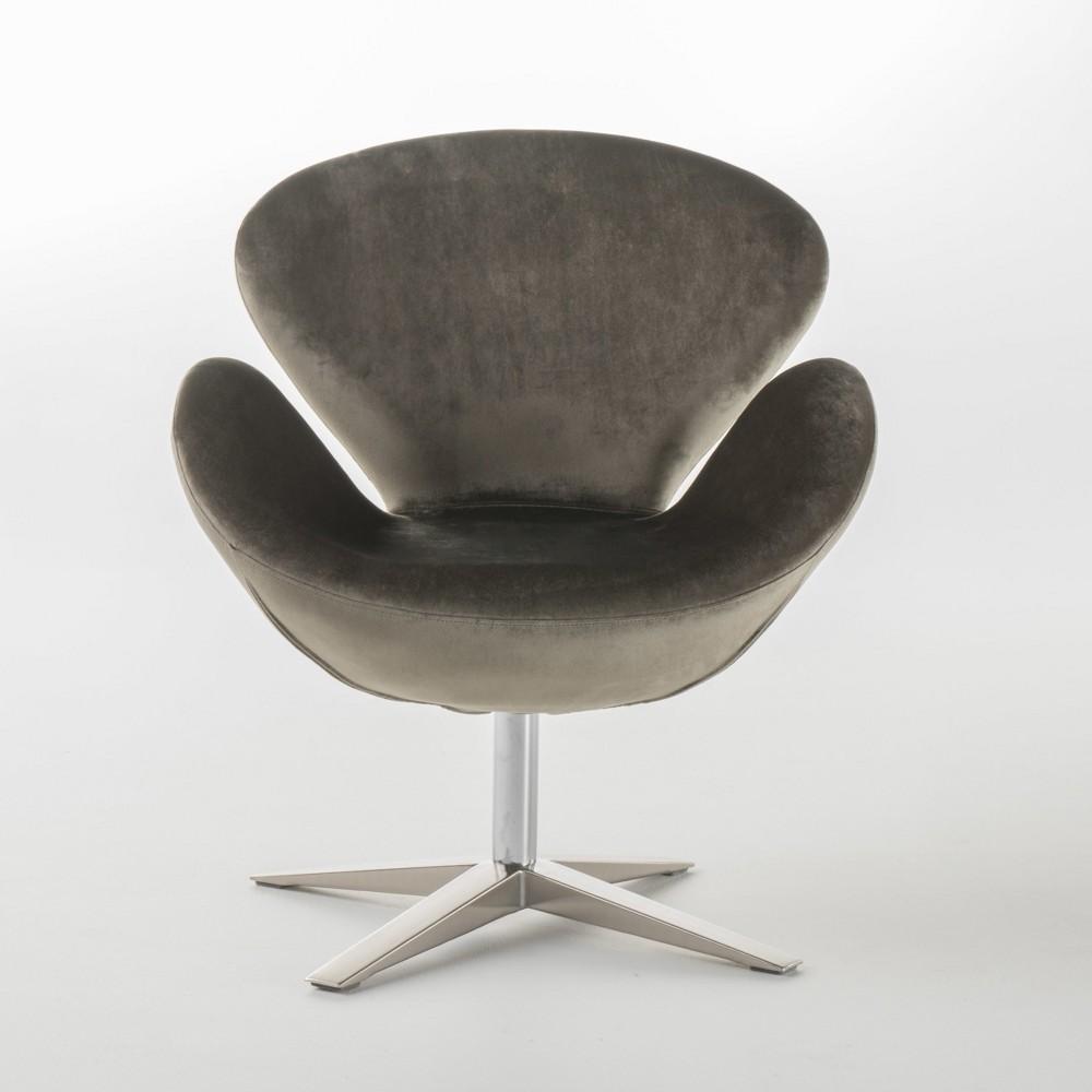 Athena New Velvet Swivel Chair - Gray - Christopher Knight Home