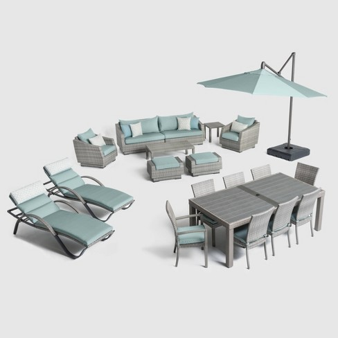 Cannes 20pc Outdoor Estate Seating Set Spa Blue - RST Brands - image 1 of 4
