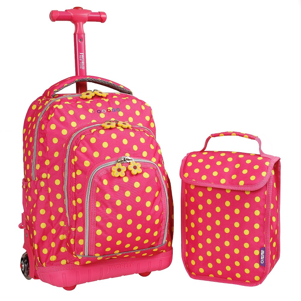 """Image of """"J World 16"""""""" Lollipop Rolling Backpack with Lunch Kit - Pink Buttons"""""""