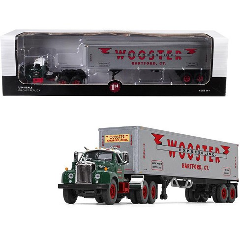 "Mack B-61 Day Cab Green with 40' Vintage Trailer ""Wooster Express Inc."" 1/64 Diecast Model by First Gear - image 1 of 2"