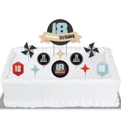Big Dot of Happiness Boy 18th Birthday - Eighteenth Birthday Party Cake Decorating Kit - Happy Birthday Cake Topper Set - 11 Pieces
