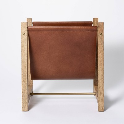 Wood and Leather Magazine Holder Natural - Threshold™ designed with Studio McGee