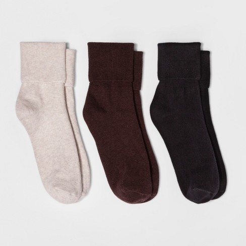 Women's 3pk Mary Jane Fold Over Cuff Socks - A New Day™ Brown Heathers One Size - image 1 of 1