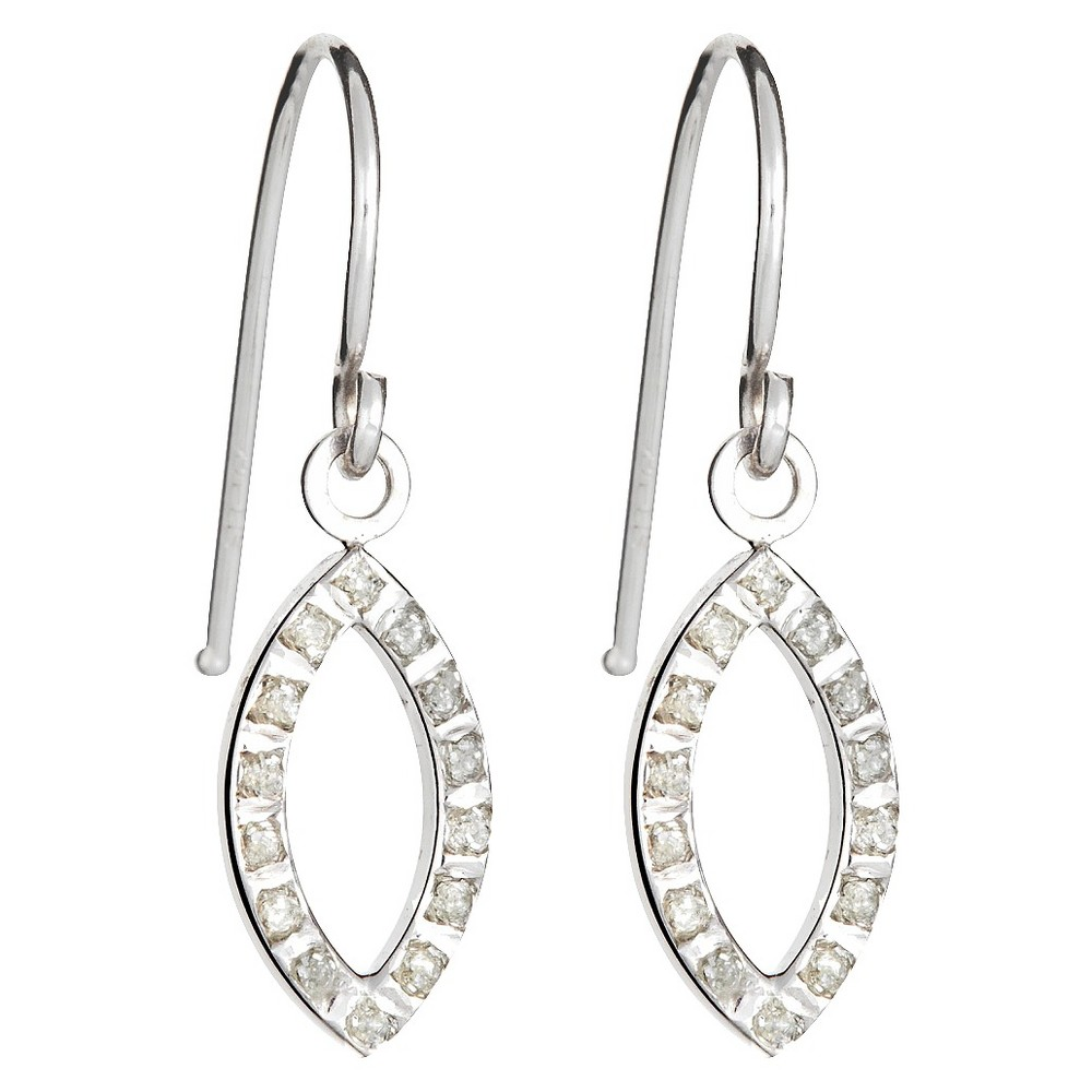 Drop Sterling Silver Earrings with Diamond Accents White