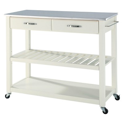 Stainless Steel Top Kitchen Cart/Island with Optional Stool Storage - Crosley