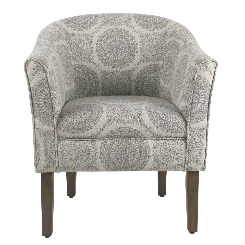 Tub Shaped Accent Chair Gray Medallion - HomePop