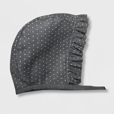 Baby Girls' Dot Bonnet with Ruffle Bonnets - Cat & Jack™ Gray 0-6M