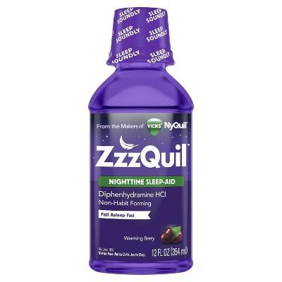ZzzQuil Nighttime Sleep-Aid Liquid - Diphenhydramine HCl - Warming Berry Flavor