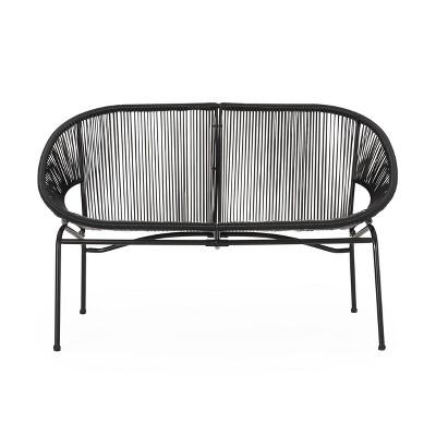 Condessa Patio Hammock Weave Loveseat Bench - Black - Christopher Knight Home