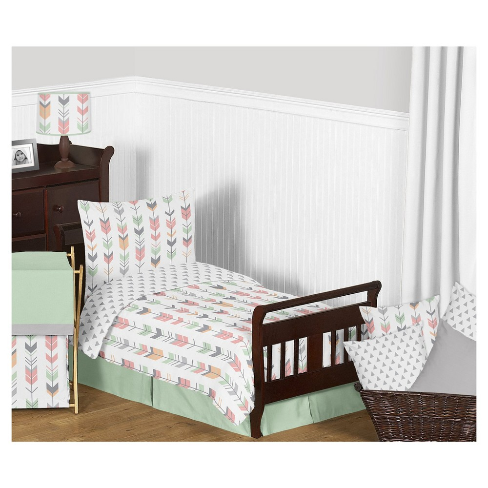 Image of Coral/Mint Mod Arrow Bedding Set (Toddler) - Sweet Jojo Designs, Pink Gray Blue