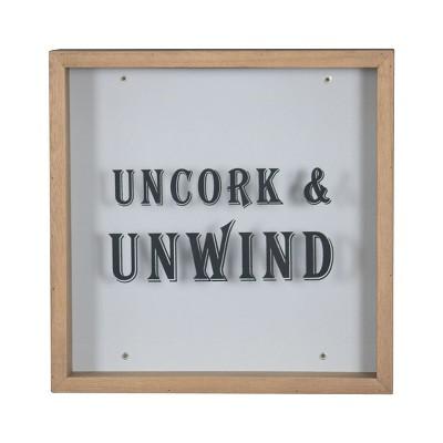 """""""Uncork & Unwind""""  Wooden Cork Holder Shadow Box - Foreside Home & Garden"""