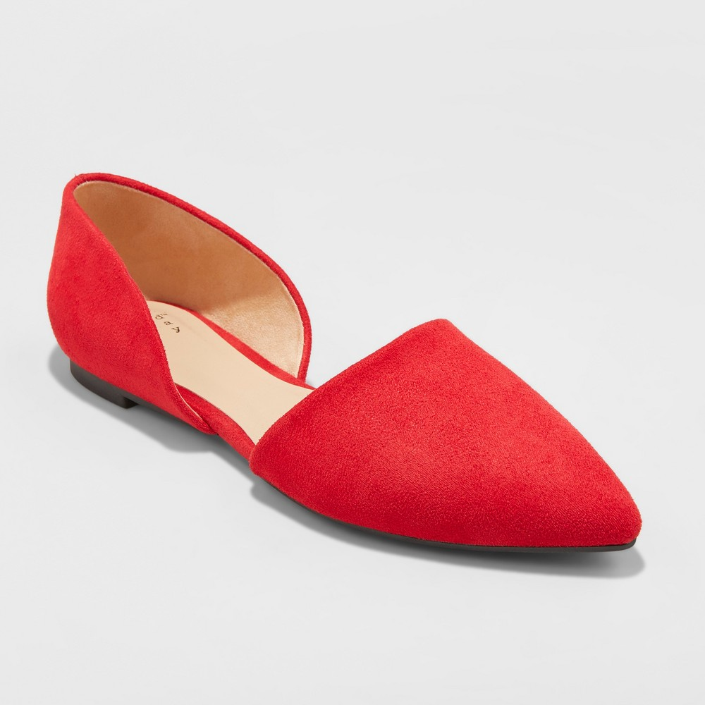 Women's Rebecca Microsuede Pointed Two Piece Ballet Flats - A New Day Red 10