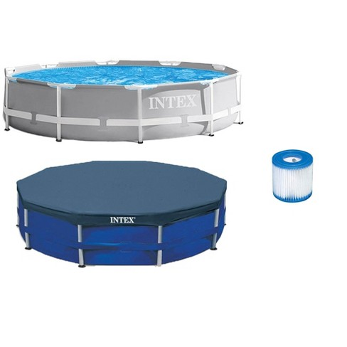 Intex 10ft x 10ft x 30in Pool w/ 10 Foot Round Pool Cover and Filter Cartridge - image 1 of 4