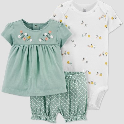 Baby Girls' Floral Top & Bottom Set - Just One You® made by carter's Mint