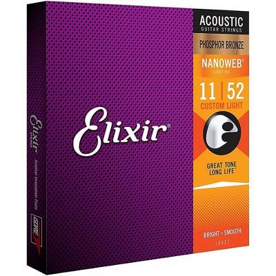 Elixir Phosphor Bronze Acoustic Guitar Strings with NANOWEB Coating, Custom Light (.011-.052)