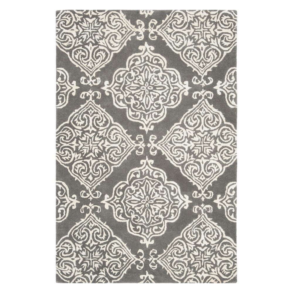 4'X6' Medallion Tufted Area Rug Dark Gray/Ivory - Safavieh
